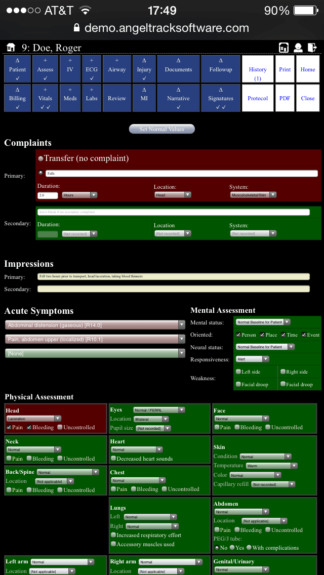 PCR Assessment Android View